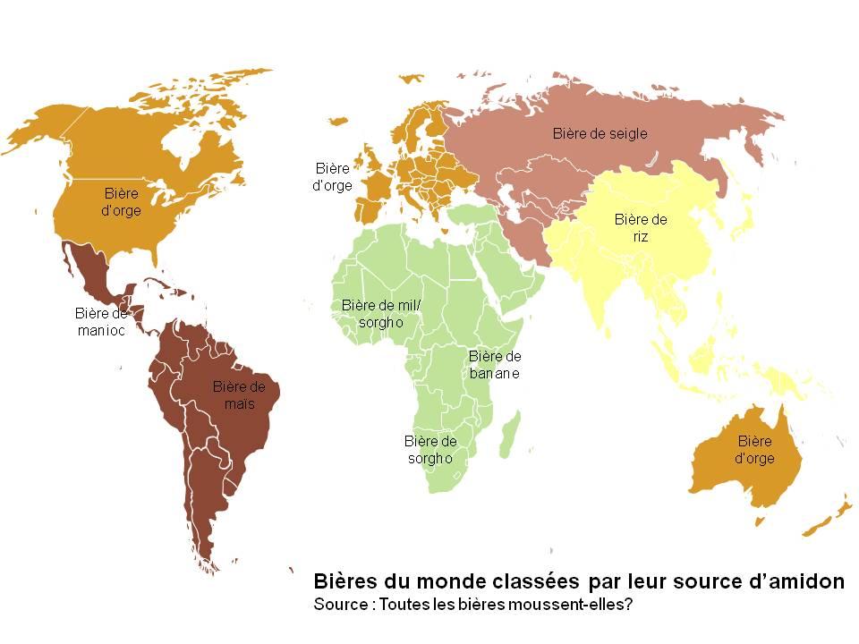 Les bières dans le monde ne sont pas toutes brassées avec de l'orge comme source d'amidon