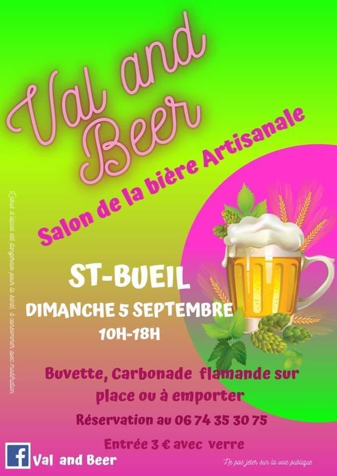 """2eme édition du salon de la bière artisanale """"Val and Beer"""" à St Bueil le 5 septembre 2021"""